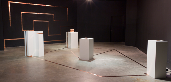 Radio Room, Place Gallery, 2013. Various sculptures combine to create a large-scale AM radio made from copper nuggets, crystal formations, rare earth magnets, and paper, connected by a conductive conduit and played through an amplified speaker.