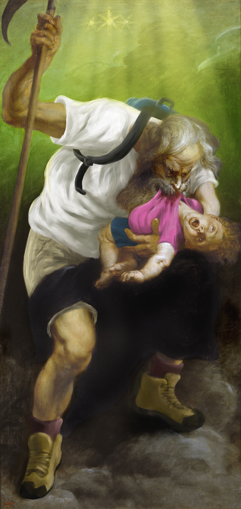 Saturn Devouring His Son by Peter Paul Rubens. Digitally vandalized by Pete Soloway