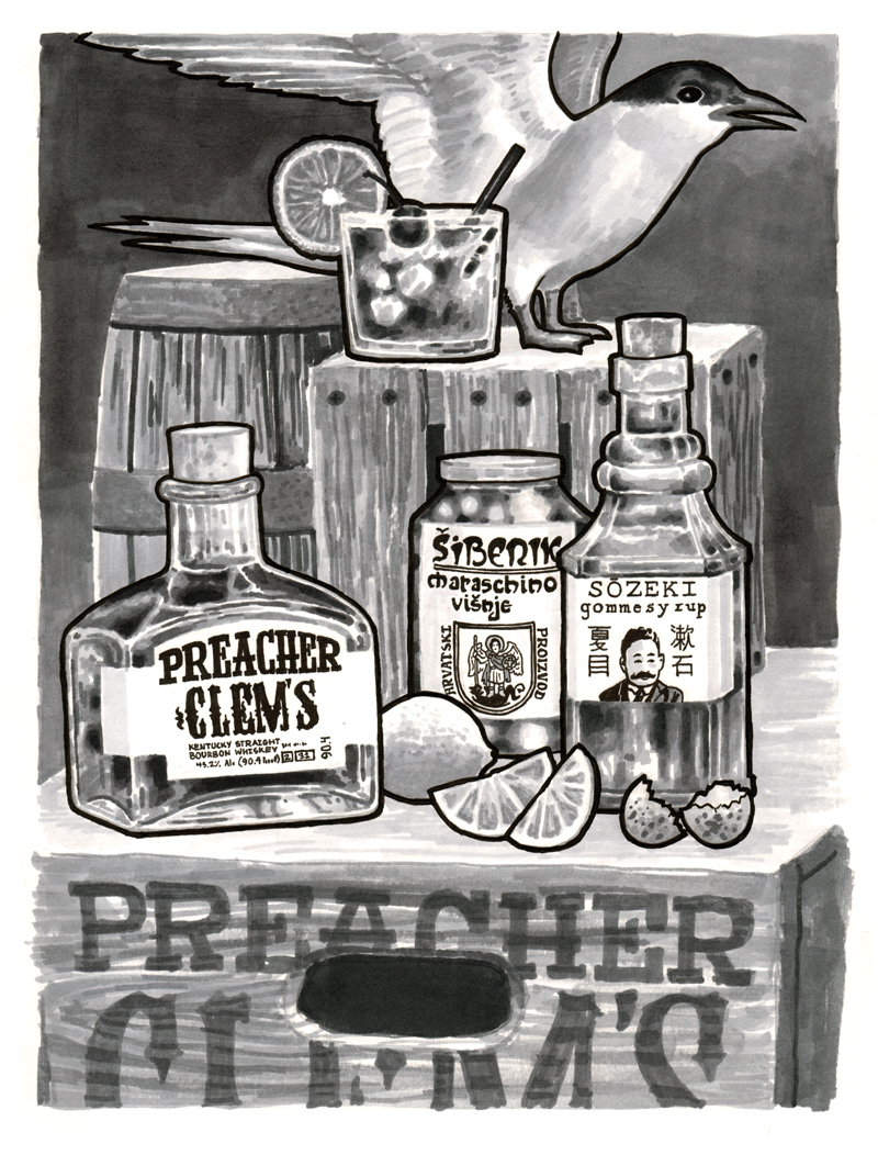 Praetor Kryptonite Whiskey Sour. Illustration by Ezra Butt