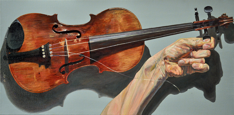 Violin Hand Study 1 by Paul Rutz. 2013. Oil on canvas. 24 x 12 inch