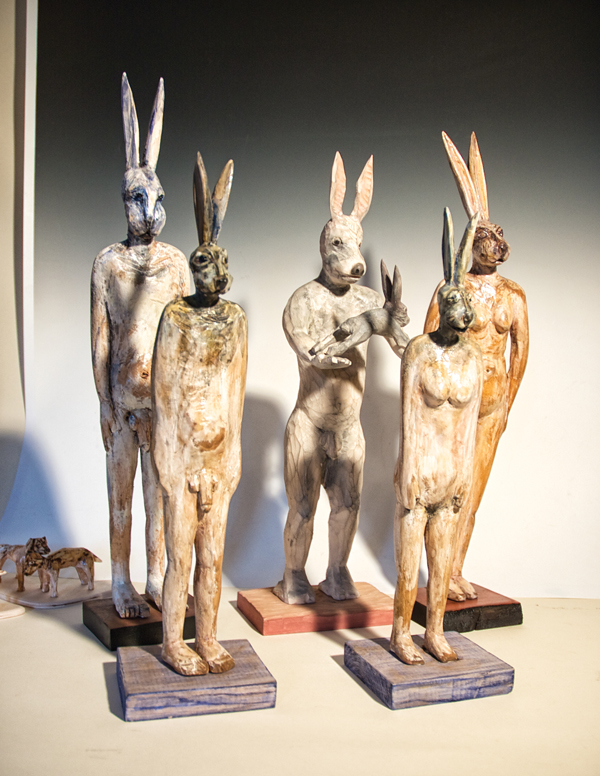 "From Peterson's collection ""Naked Rabbitmen."" These pieces are from a series of human-like rabbits Peterson has carved over the years. Photo by Ross Blanchard."