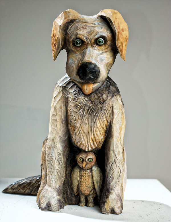 """Watchdog"" by Stan Peterson. Carved and painted basswood. Photo by Miri Stebivka."