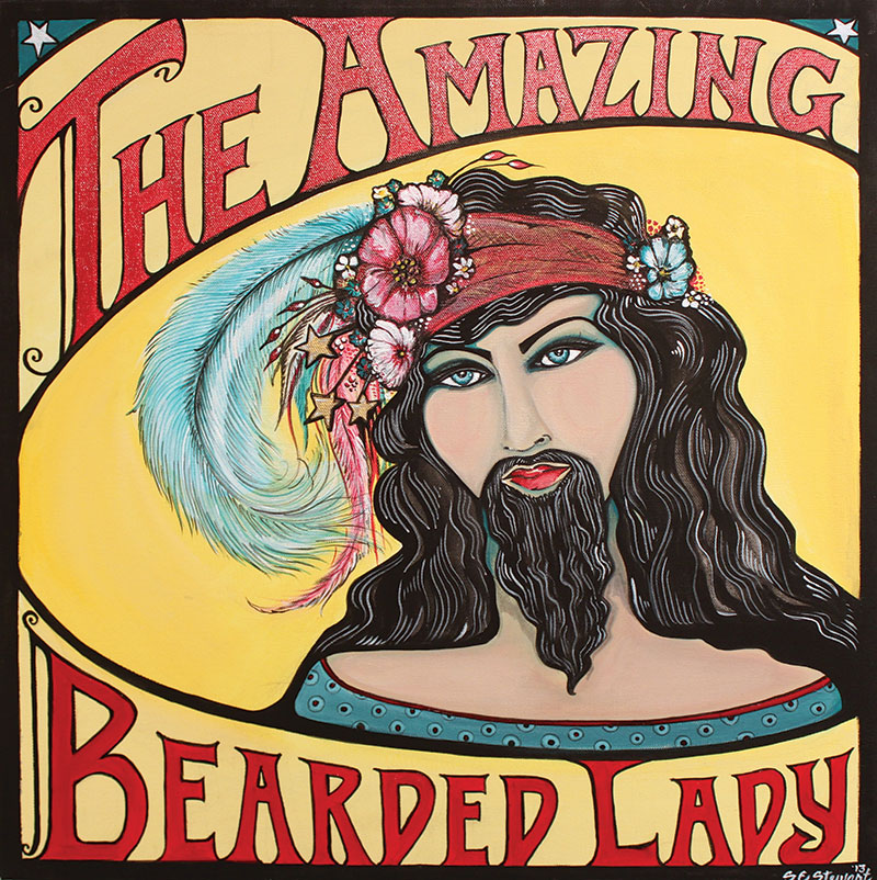 Suzanne Elise Stewart, The Amazing Bearded Lady. 2013. Acrylic on canvas.