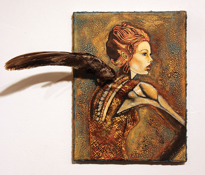 Linda Rand, Bird Girl. 2014. Oil, acrylic, paper, clay, taxidermy, Lady Armherst's pheasant wing.