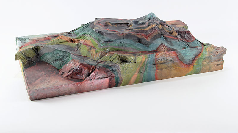 Mt. McKinley, 2013. Wood, paper, acrylic and polyurethane, 12in x 24in x 7in. Photograph by Ian Wallace.
