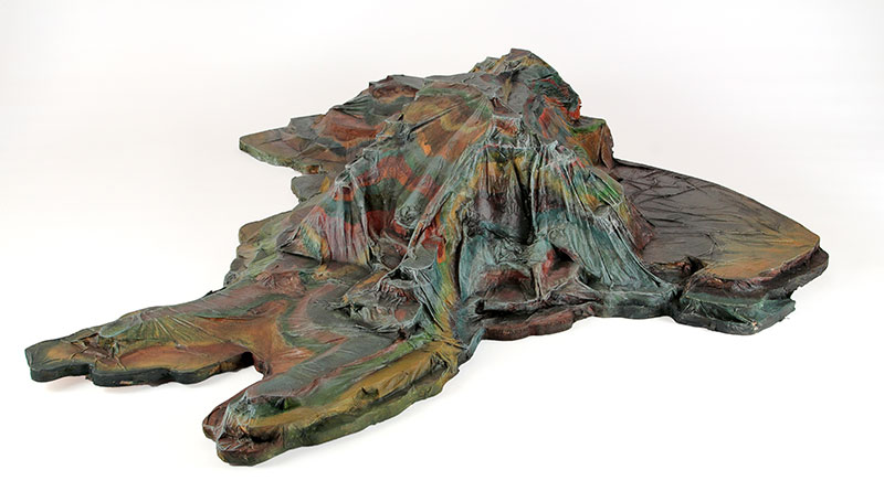 Table Mountain (north view), 2013. Wood, paper, acrylic and polyurethane, 32in x 32in x 8in. Photograph by Ian Wallace.