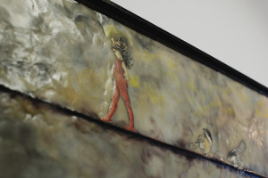 """Detail from """"Three Little Birds"""" by Alexandra Petersen. Encaustic over pen & ink drawings on wood base."""