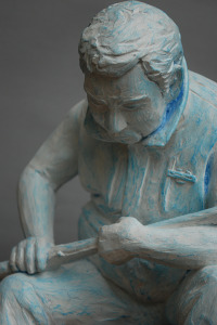 "A working proof of Christopher Wagner's sculpture of Lance Grebner, an Army veteran who  saw heavy combat in Vietnam. Polyurethane coated in acrylic, 2014,14""x 8""x 8""."