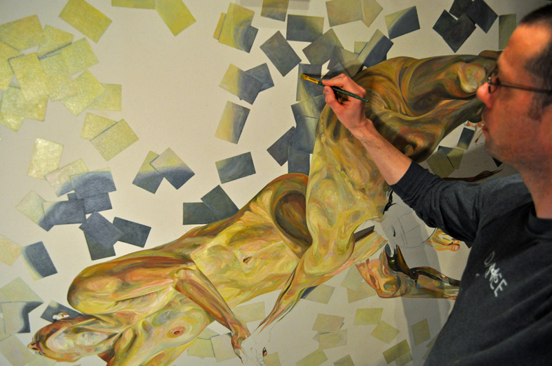 Painter Paul X. Rutz works through a painting in his Portland, Oregon, studio, May, 2015.